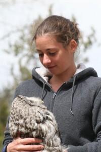 Beth holding owl