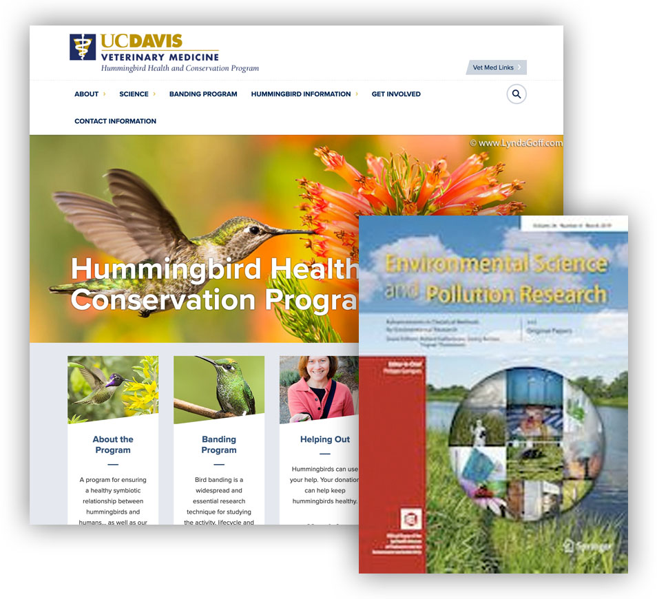 Journal cover of Environmental Science and Pollution Research and website screenshot of UCDavis Hbird program